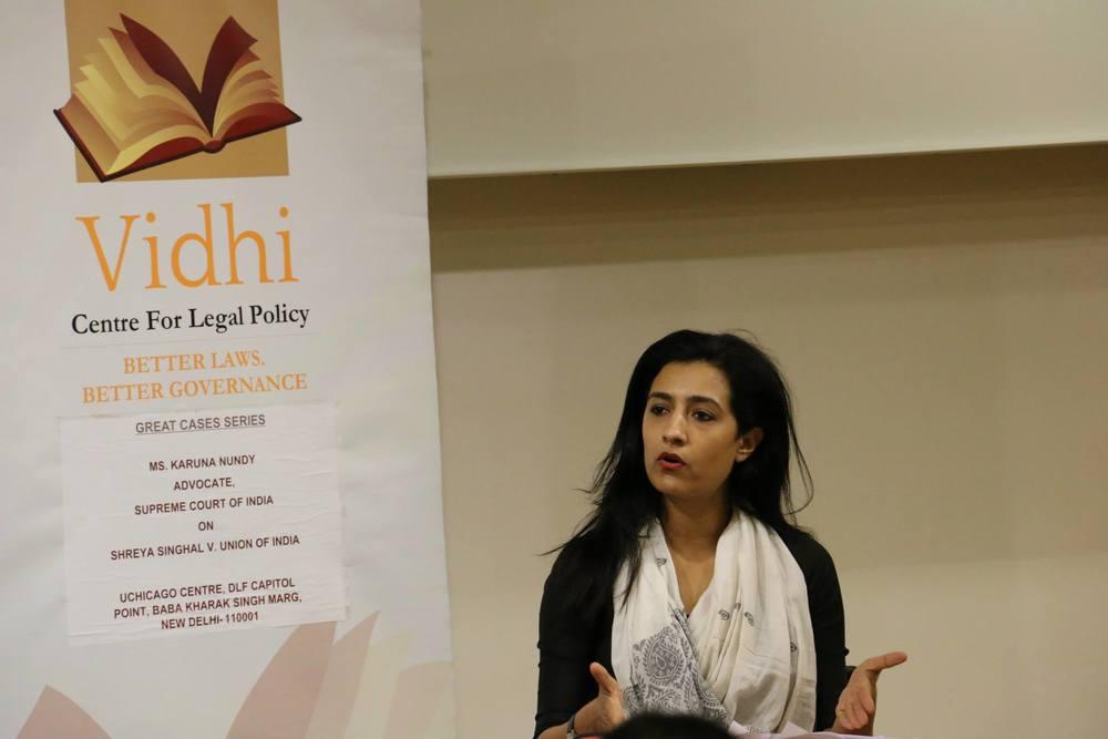 'Great Cases' Talk by Ms. Karuna Nundy on Shreya Singhal v. UOI 1