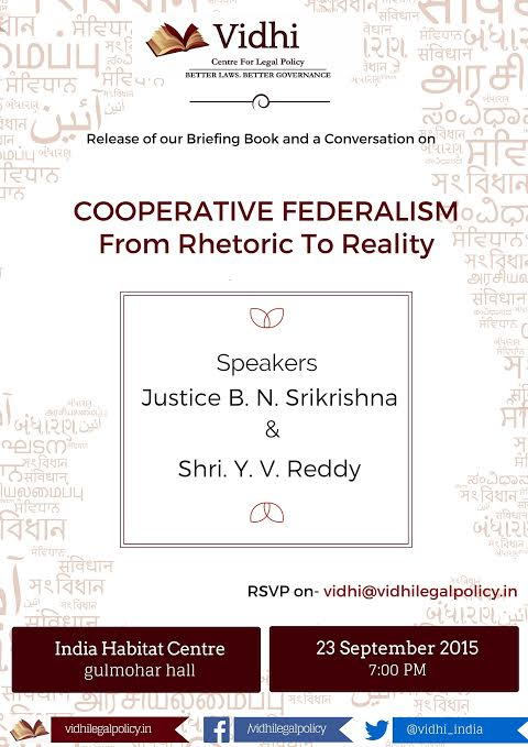 Event: A Conversation on Cooperative Federalism on 23rd September 1