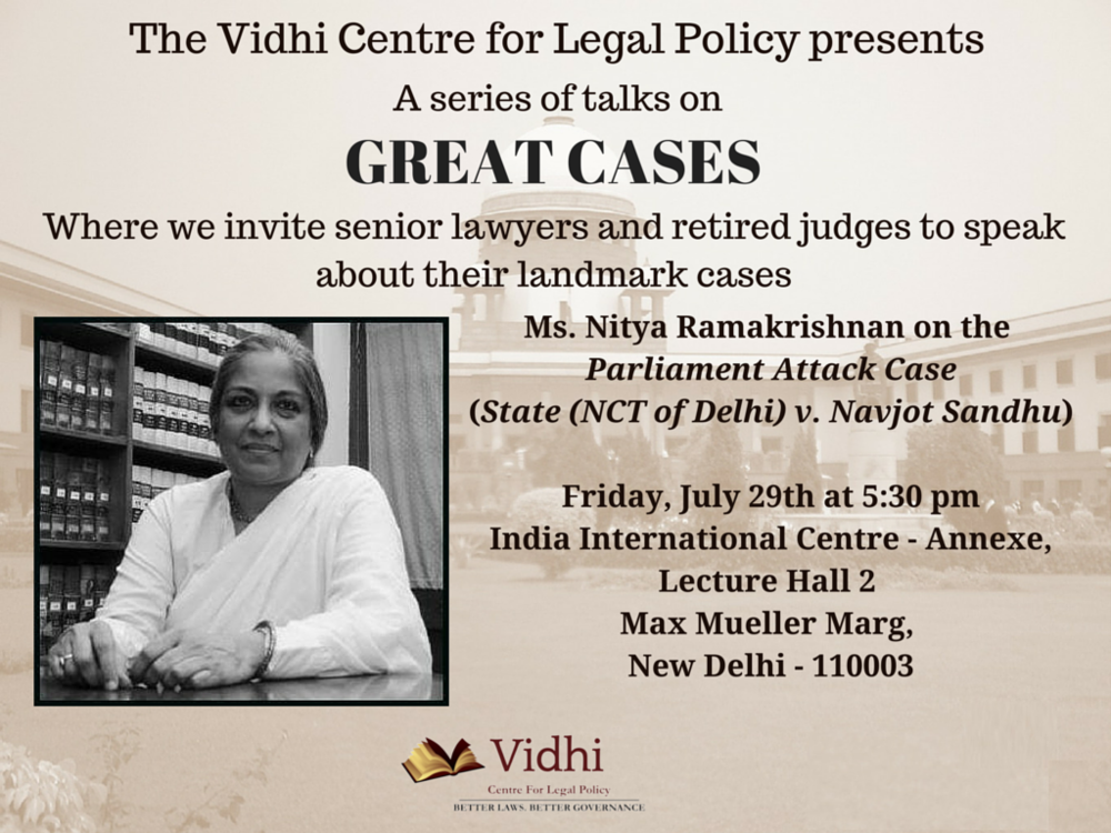 Event: 'Great Cases' talk by Ms. Nitya Ramakrishnan 1