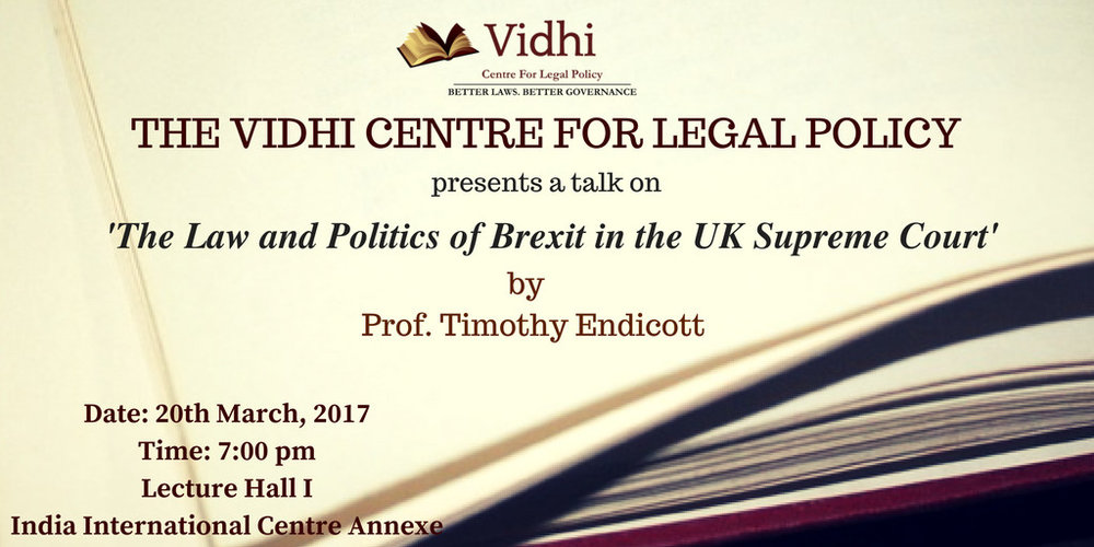Talk on 'Law and Politics of Brexit in the UK Supreme Court' 1