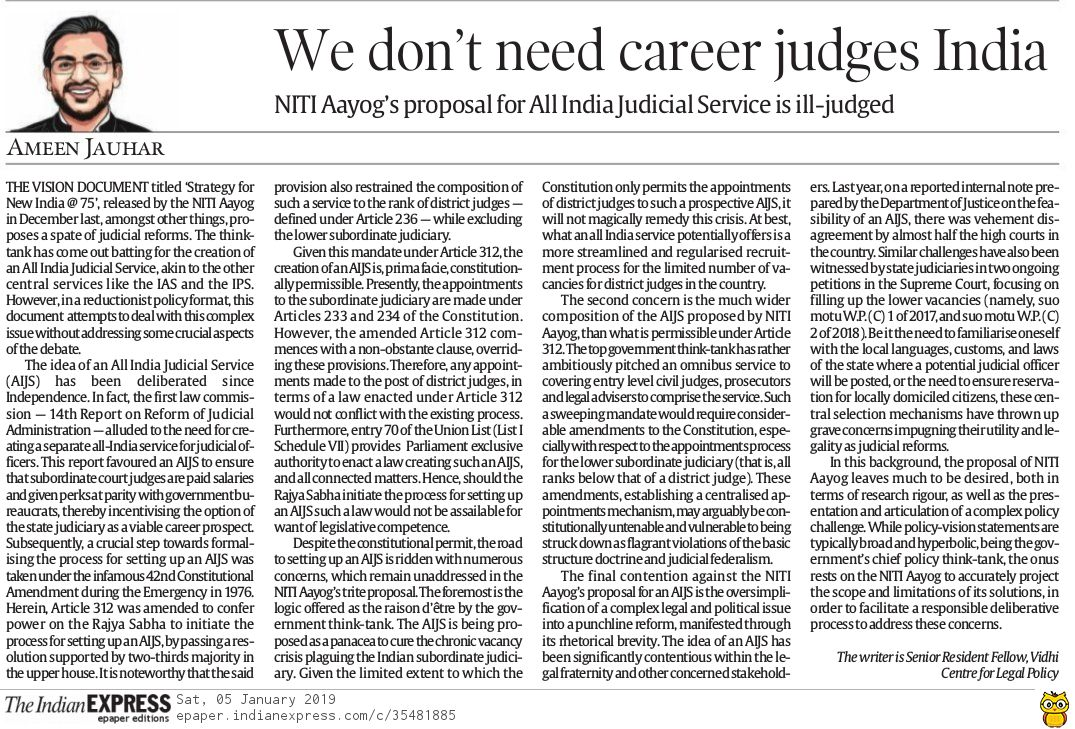 We don't need career judges India | The Indian Express 2