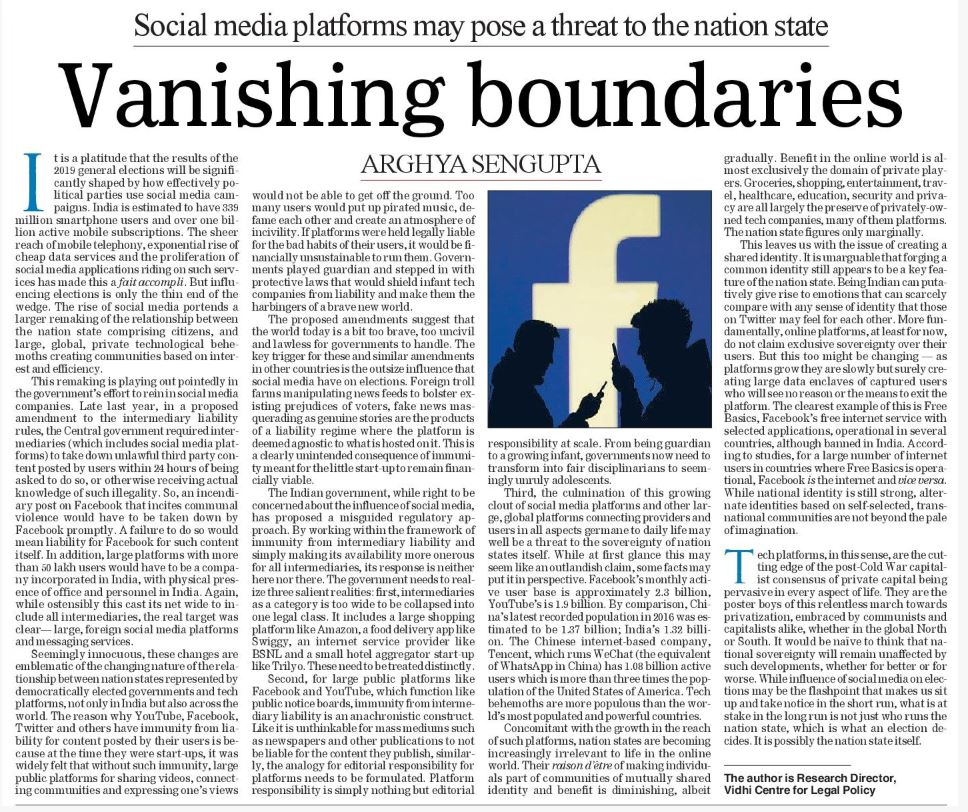 Vanishing boundaries: Social media platforms may pose a threat to the nation state | The Telegraph 2