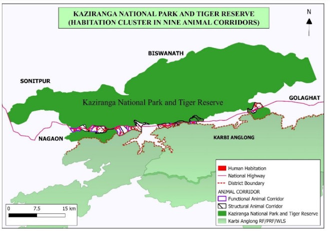 Map showing habitat cluster in 9 animal corridors of Kaziranga-Karbi Anglong.