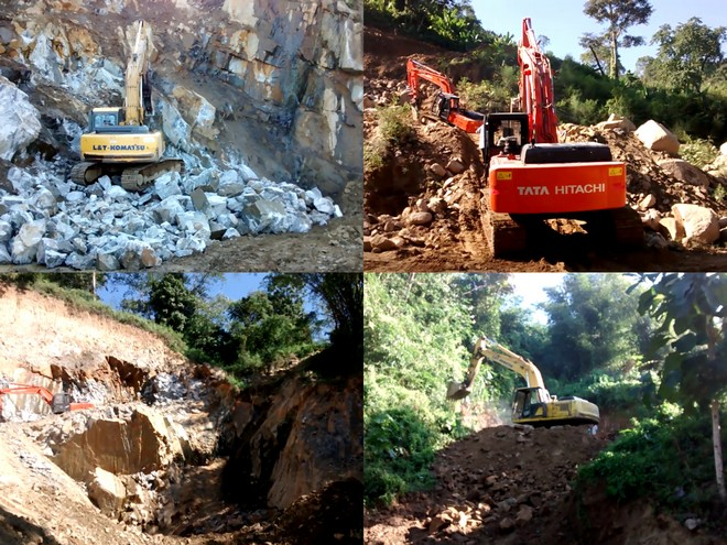 Photos of mining activities going on in Karbi Anglong hills in 2016