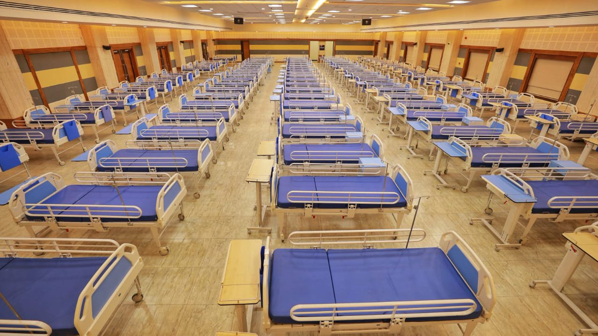 Row of beds for coronavirus patients